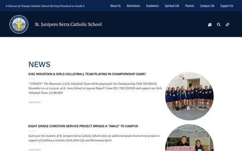 Screenshot of Press Page serraschool.org - News - Serra Catholic School - captured Dec. 3, 2016
