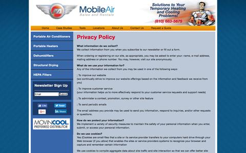 Screenshot of Privacy Page mobileair.com - Privacy Policy | Mobile Air - Portable Air Conditioner and Heater Rental - captured Sept. 23, 2016