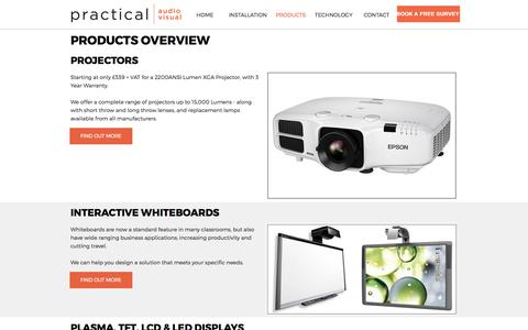 Screenshot of Products Page practicalav.co.uk - Audio Visual Products installed by PracticalAV - captured Aug. 17, 2017