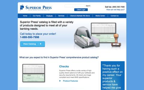 Screenshot of Products Page superiorpress.com - Banking Products | Superior Press - captured Jan. 13, 2016