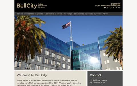 Screenshot of Home Page bellcity.com.au - Bell City | Melbourne Accommodation, Restaurants, & Events - captured Dec. 31, 2015