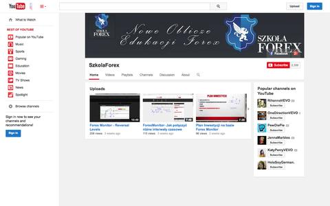 Screenshot of YouTube Page youtube.com - SzkolaForex  - YouTube - captured Nov. 5, 2014