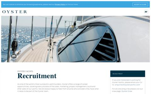 Screenshot of Jobs Page oystermarine.com - Recruitment | Oyster Yachts - captured Sept. 20, 2018