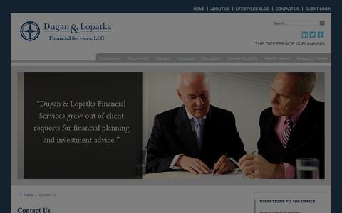 Screenshot of Contact Page duganlopatkafinancial.com - Dugan & Lopatka Financial Services - captured Oct. 5, 2014