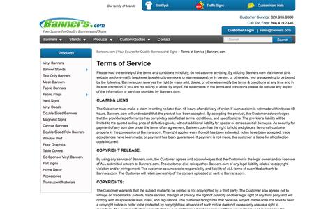 Terms of Service | Banners.com