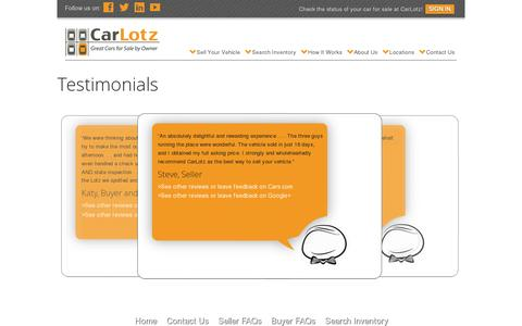 Screenshot of Testimonials Page carlotz.com - Client Testimonials | CarLotz - captured July 19, 2014