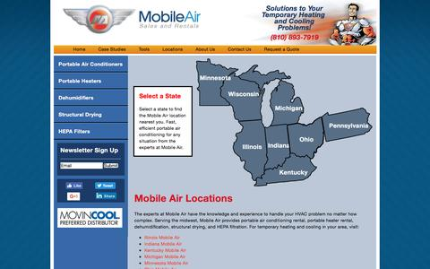 Screenshot of Locations Page mobileair.com - Mobile Air Locations | Mobile Air - Portable Air Conditioner and Heater Rental - captured Sept. 23, 2016