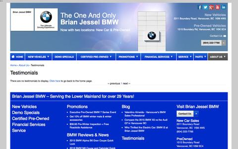 Screenshot of Testimonials Page brianjesselbmw.com - Testimonials | Brian Jessel BMW - captured Nov. 5, 2015