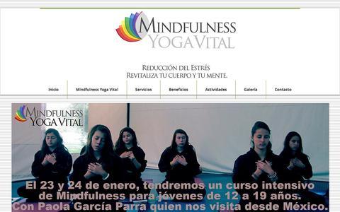Screenshot of Home Page yogavital.co - Actividades Mindfulness Yoga Vital. Reducción del Estrés. Bogotá, - captured Jan. 12, 2016