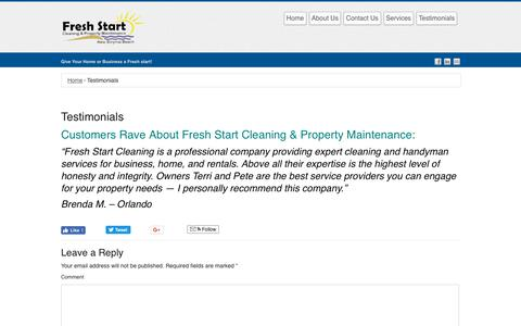 Screenshot of Testimonials Page freshstartnsb.com - Testimonials | Fresh Start Cleaning & Property Maintenance - captured Oct. 11, 2018
