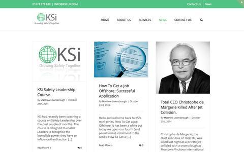 Screenshot of Blog Press Page ksi.uk.com - KSi – Improving Safety Worldwide   –  Blog - captured Oct. 25, 2014