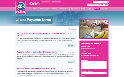Screenshot of Press Page payzone.co.uk - The Latest Payzone News - captured Nov. 4, 2014