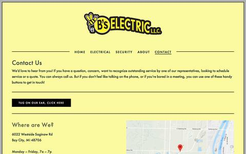 Screenshot of Contact Page bselectricllc.com - Contact — B's Electric L.L.C. - captured July 17, 2018
