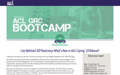 Screenshot of Landing Page acl.com - ACP Bootcamp: What's New in ACL's Spring '18 Release? - captured May 19, 2018