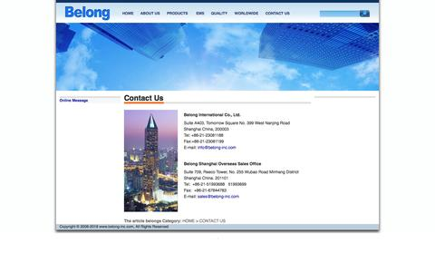 Screenshot of Contact Page belong-inc.com - Contact Us - CONTACT US - BELONG Inc.- DC/EC Centrifugal Fan, Axial Fan, Blower, BLDC Motor, SMPS, EMI Filter, PCBA, EMS&ODM Service - captured Oct. 5, 2014