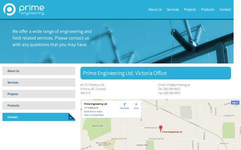 Screenshot of Contact Page primeeng.ca captured Oct. 3, 2014