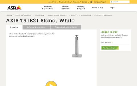 Screenshot of axis.com - AXIS T91B21 Stand, White | Axis Communications - captured Oct. 28, 2017
