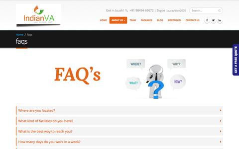 Screenshot of FAQ Page indianva.com - know more about virtual assistant services - captured June 7, 2017