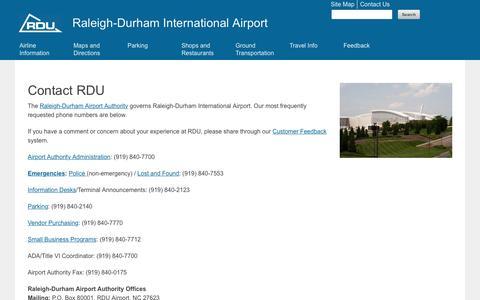 Screenshot of Contact Page rdu.com - Contact Us   Raleigh-Durham International Airport - captured Sept. 5, 2016