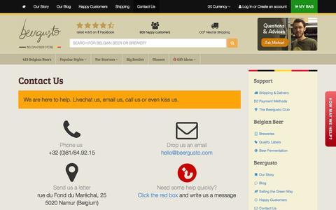 Screenshot of Contact Page beergusto.com - Contact Us • Beergusto, the Belgian Beer Specialist - captured Sept. 30, 2014