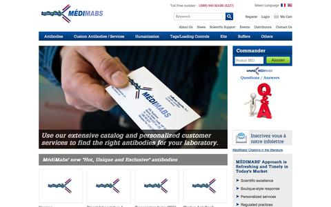 Screenshot of Home Page Blog About Page Contact Page Press Page Site Map Page Login Page Testimonials Page medimabs.com - MédiMabs: specialist in custom, licensed and R&D antibodies - captured Sept. 30, 2014