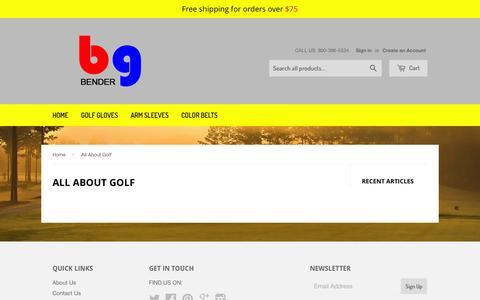 Screenshot of Press Page bendergloves.com - All About Golf – Bender Gloves - Color Golf Gloves - captured Feb. 7, 2016