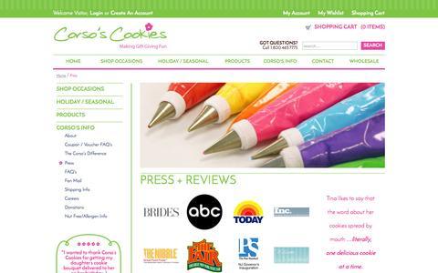 Screenshot of Press Page corsoscookies.com - Press and Reviews | Corso's Cookeis - captured Sept. 30, 2014