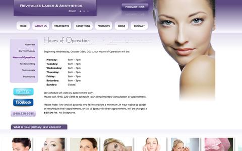 Screenshot of Hours Page revitalizelaser.com - Laser Hair Removal in Denton and in Dallas, TX - Revitalize Laser & Aesthetics Clinic is located in the Dallas - Ft.Worth, DFW Metroplex - Hours of Operation - captured Oct. 26, 2014