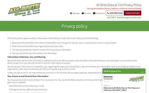 Screenshot of Privacy Page allbriteglass.ca - Privacy Policy - captured Dec. 18, 2018