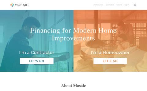 Screenshot of Home Page joinmosaic.com - Join Mosaic – Flexible Home Improvement & Solar Loans & Financing — Mosaic - captured Feb. 17, 2019
