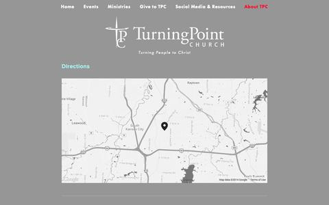 Screenshot of Maps & Directions Page tpckc.com - Directions — Turning Point Church - captured Oct. 7, 2014