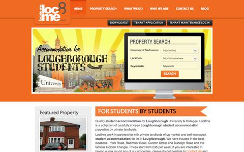 Screenshot of Home Page loc8me.co.uk - Loughborough Student Accommodation | Loc8Me - captured Sept. 30, 2014