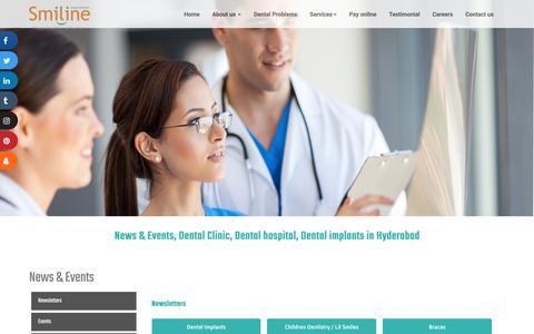 Screenshot of Press Page smiline.com - News & Events, Dental Clinic, Dental hospital, Dental implants in Hyderabad - captured Dec. 18, 2019