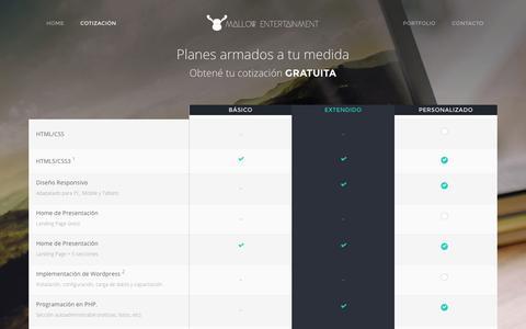 Screenshot of Pricing Page mallowentertainment.me - Cotización - Mallow Entertainment - captured Dec. 21, 2015