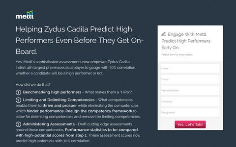 Screenshot of Landing Page mettl.com - Zydus+Mettl=Excellence! - captured Jan. 14, 2017