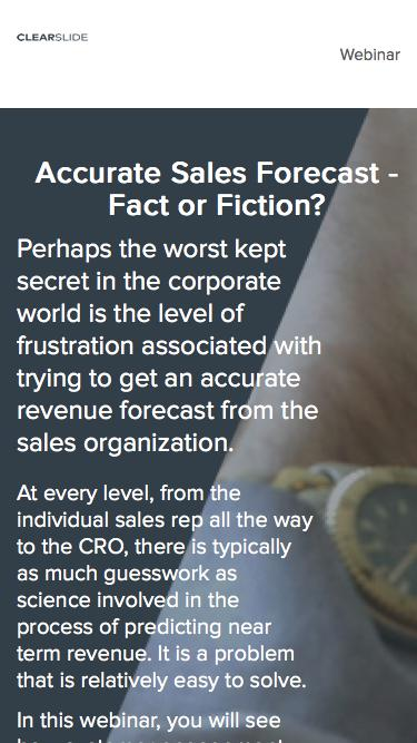 Accurate Sales Forecast - Fact or Fiction?