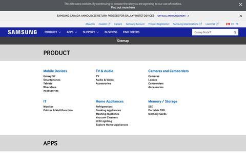 Screenshot of Site Map Page samsung.com - Sitemap | Samsung CA - captured Dec. 5, 2016