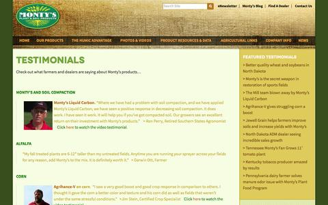 Screenshot of Testimonials Page montysplantfood.com - Testimonials | Monty's Plant Food - captured Oct. 7, 2014