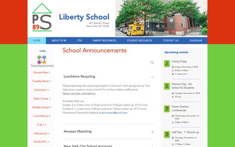 Screenshot of Home Page ps89.org - ps89-libertyschool - captured Oct. 20, 2018