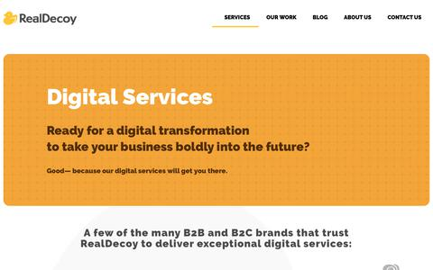 Screenshot of Services Page realdecoy.com - Services Landing - RealDecoy - captured Oct. 19, 2018
