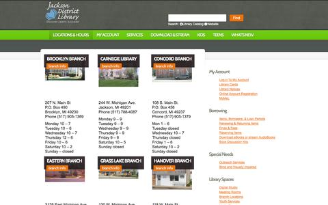 Screenshot of Locations Page myjdl.com - Locations & Hours  |  Jackson District Library | Inspiring our community to discover, learn and succeed. - captured Oct. 6, 2014