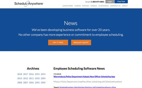 Screenshot of Press Page scheduleanywhere.com - Employee Scheduling Software News from ScheduleAnywhere - captured July 9, 2018