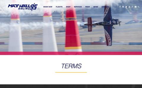 Screenshot of Terms Page matthallracing.com - Terms - Matt Hall Racing - captured July 26, 2018