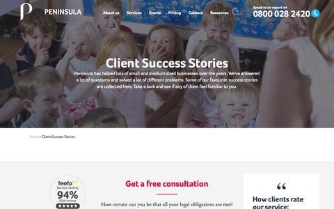 Screenshot of Case Studies Page peninsulagrouplimited.com - Client Success Stories   Peninsula UK - captured Oct. 4, 2018