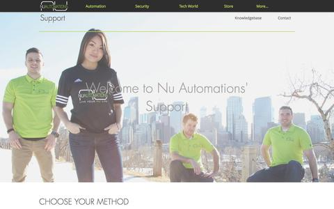 Screenshot of Support Page nuautomations.com - Nu Automations   NU Home Automation & Security Provider - captured June 15, 2017