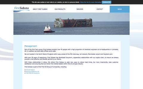 Screenshot of Team Page firstsubsea.com - Management - First Subsea - captured Sept. 30, 2014