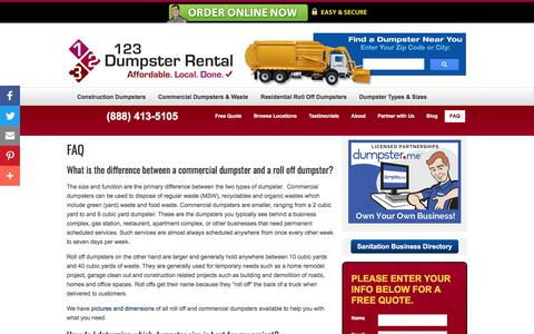 Screenshot of FAQ Page 123dumpsterrental.com - FAQ | Commercial, Residential Roll Off, Construction Demolition Dumpsters | Pool & Building Demolition | 123 Dumpster Rental - captured Jan. 20, 2018
