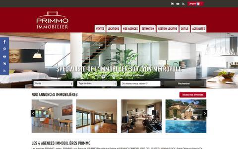 Screenshot of Home Page agence-primmo.com - Tout l'immobilier à Lissieu, Lyon, Neuville sur Saône et Saint Didier Au Mont d'Or avec Primmo Immobilier - captured Oct. 4, 2014