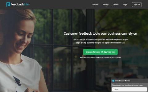 Screenshot of Home Page feedbacklite.com - User Feedback Widgets for Your Website – Feedback Lite - captured May 18, 2018