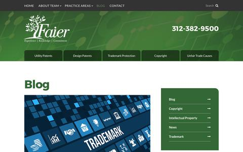 Screenshot of Blog faier.com - Blog | Patent Law Firm | Faier & Faier, PC - captured Oct. 13, 2017